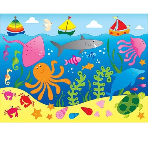El fondo del mar con dibujos de peces