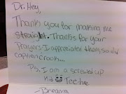 Got this nice and funny thank you note from Breanna recently.