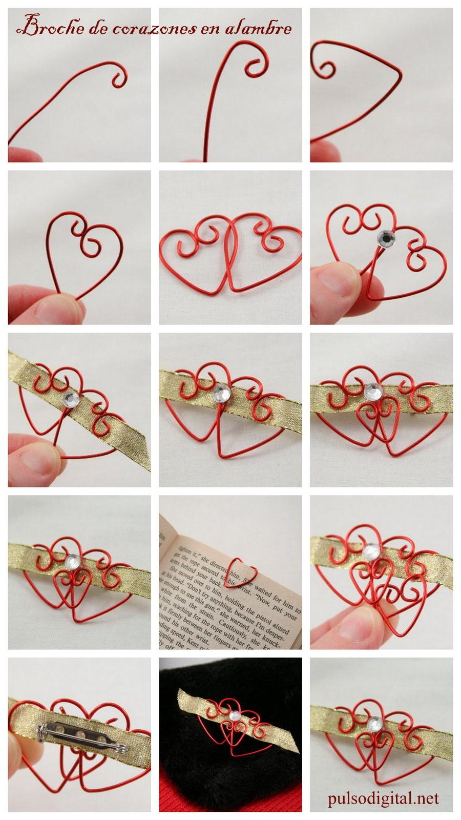Broche de corazones en alambre