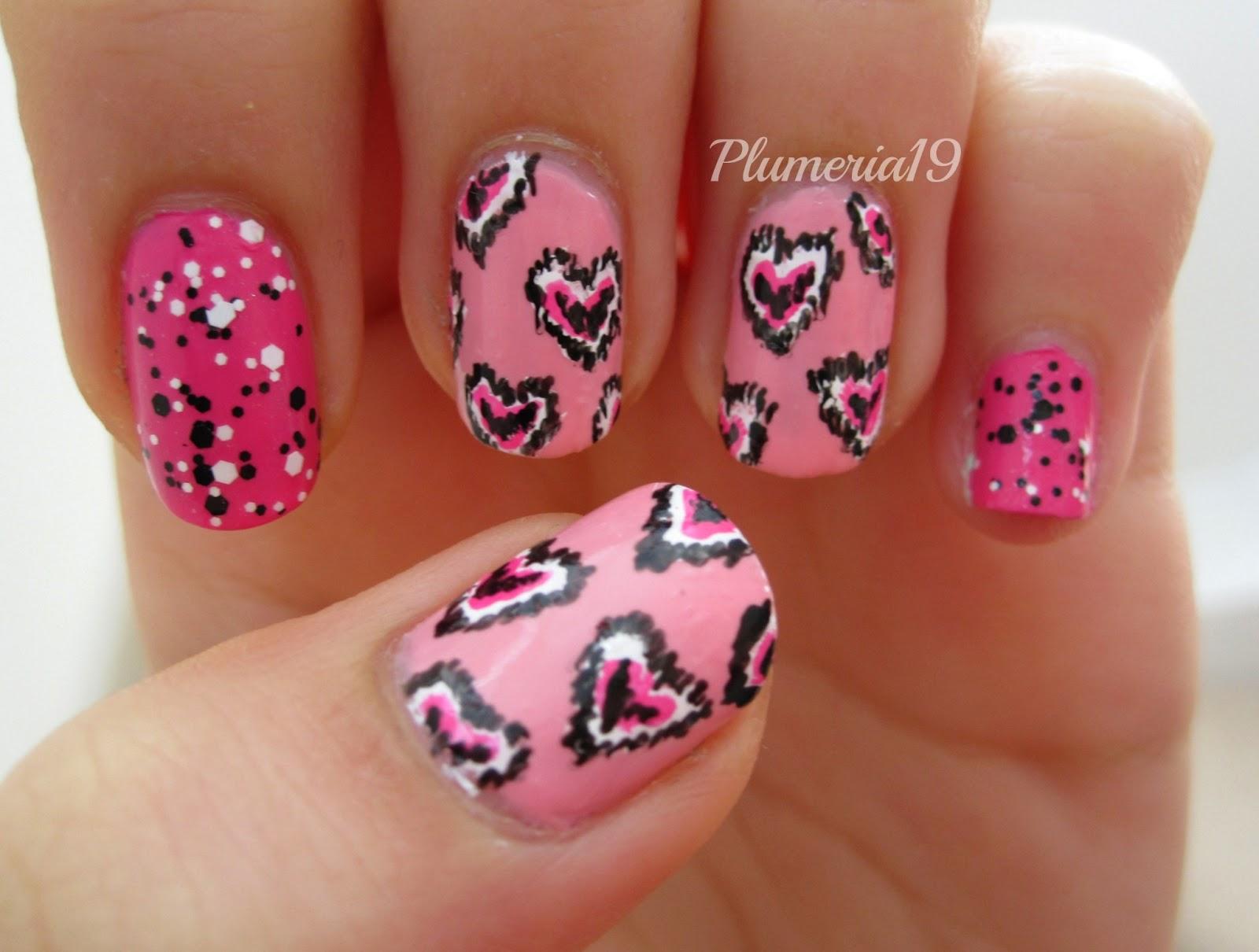 PlumeriaPainted: Ikat Heart Nail Art