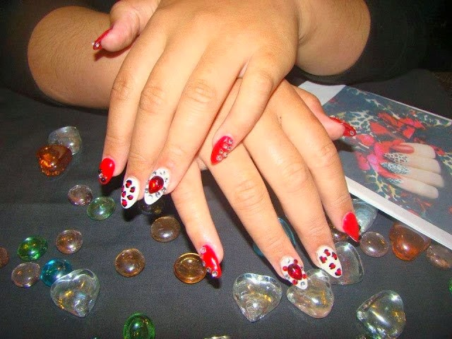 Gel-color polishes Red-A-Kill and Lacy White
