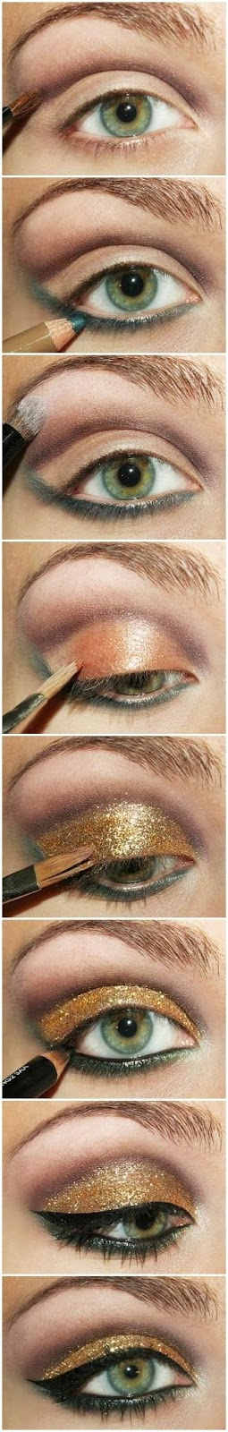 Gold eye shadow, perfect for Christmas or New Year's Eve event