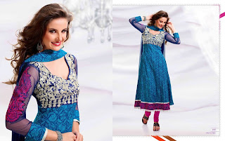 blue Designer long Anarkali Frocks 2013