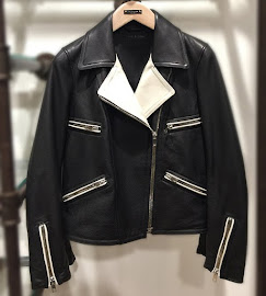 Rag & Bone Caviar Anderson Biker Jacket in black and blonde.