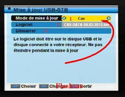 Sélectionnez Le fichier CAS Data à partir de flash disque USB