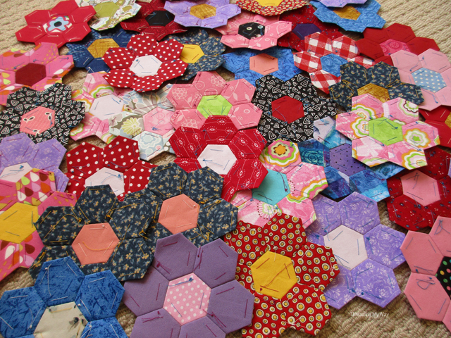 Flower hexies destined to be a quilt ~ Threading My Way