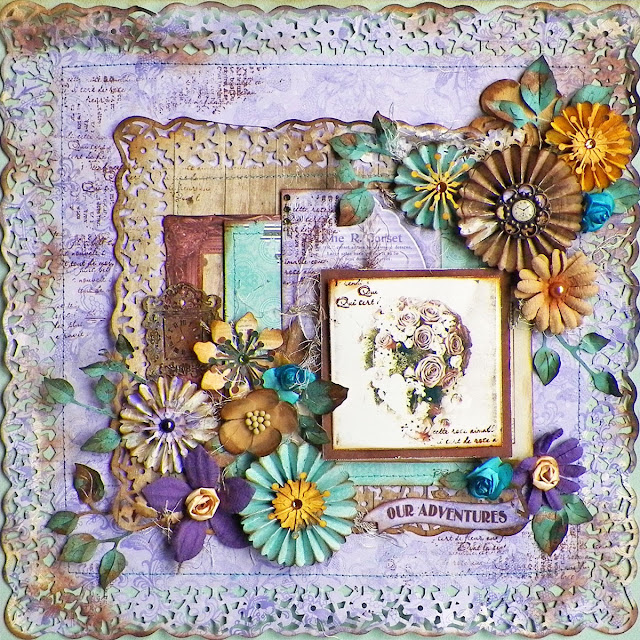 Our Adventures Layout by Lisa Novogrodski for BoBunny featuring Penny Emporium