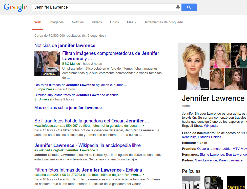 Noticias de las fotos intimas de Jennifer Lawrence