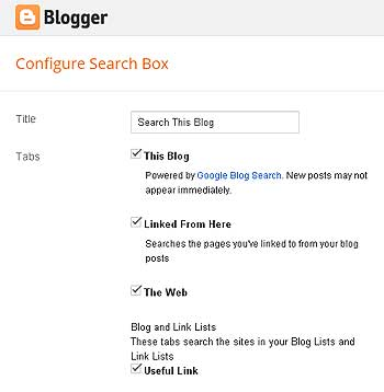 Search box links
