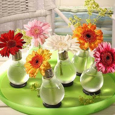 Reciclando lâmpadas - Vasinhos