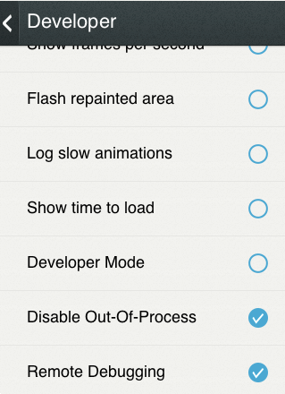 Firefox OS settings