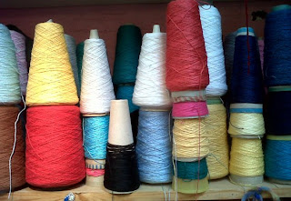 Spools of cotton in the weaving workshop of Freeman College, Sheffield