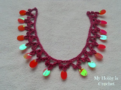 crochet necklace/edging with sequins