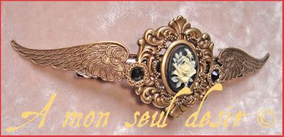 pince à cheveux barrette accessoire coiffure steampunk ailes camée steampunk cameo jewel hair accessoiries hair pin