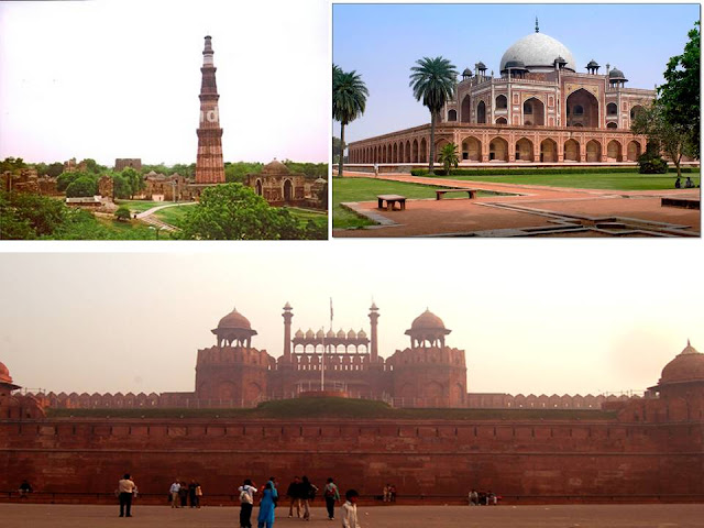 Red Fort, Qutub Minar and Humanyus Tomb