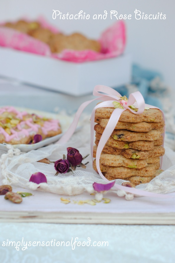 Pistachio and Rose Biscuits