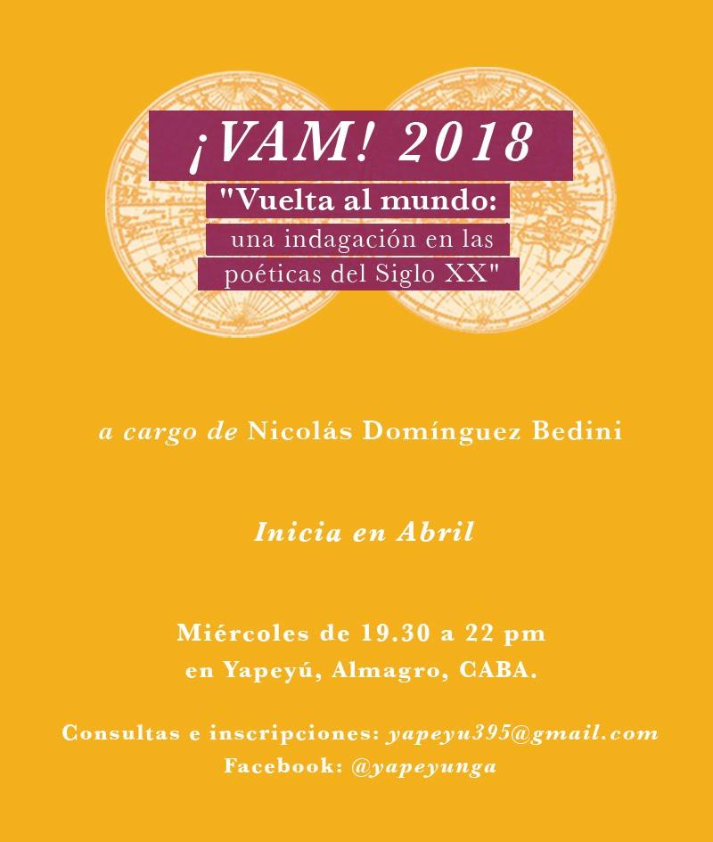 TALLER DE LECTURAS POÉTICO-MUSICALES ¡VAM! 2018 EN ESPACIO YAPEYÚ, ALMAGRO, CABA.