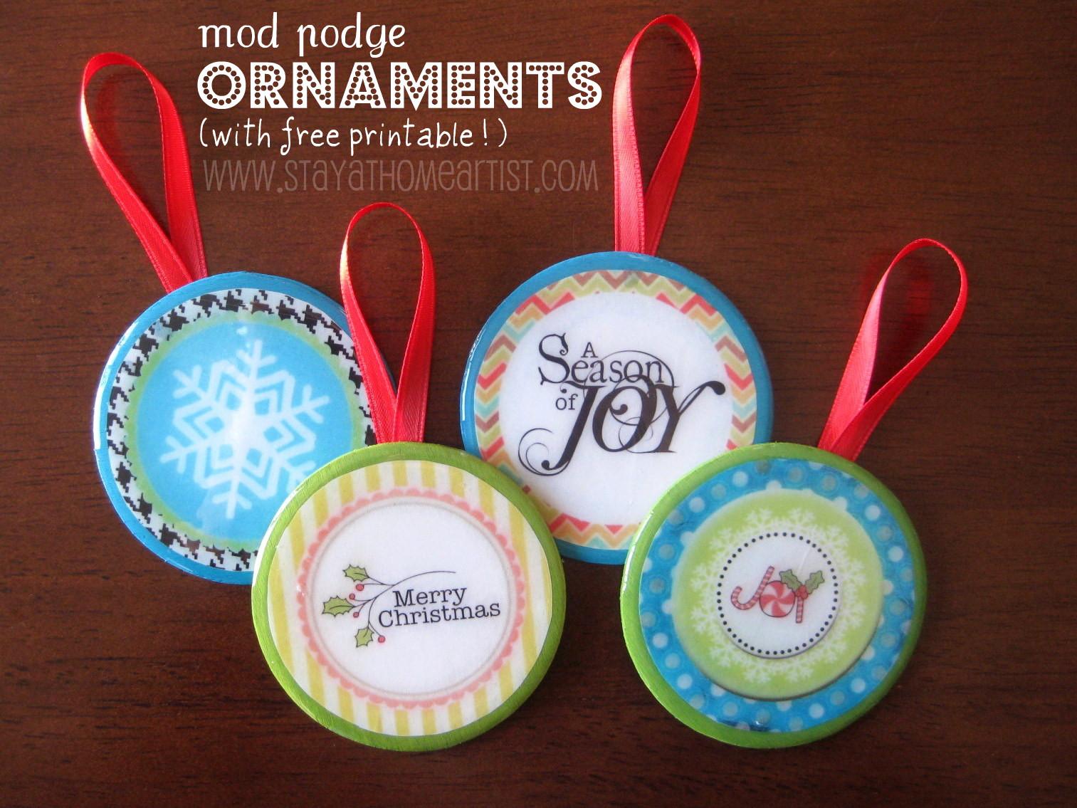 stayathomeartist.com: mod podge ornaments with free printable...