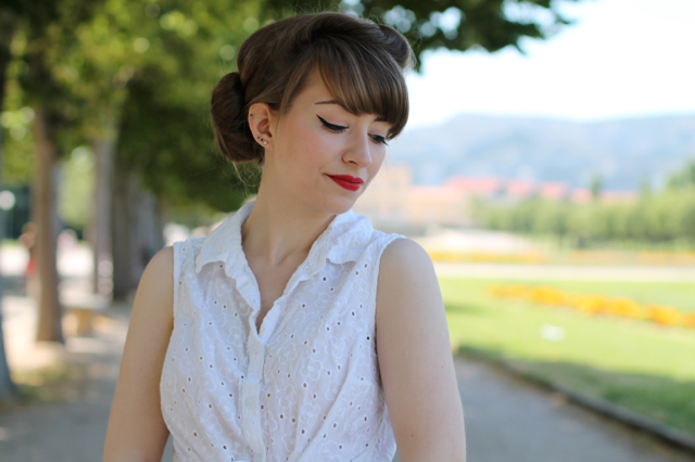 White broderie anglaise tie shirt