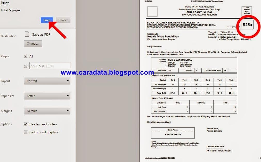 Contoh Formulir S25a