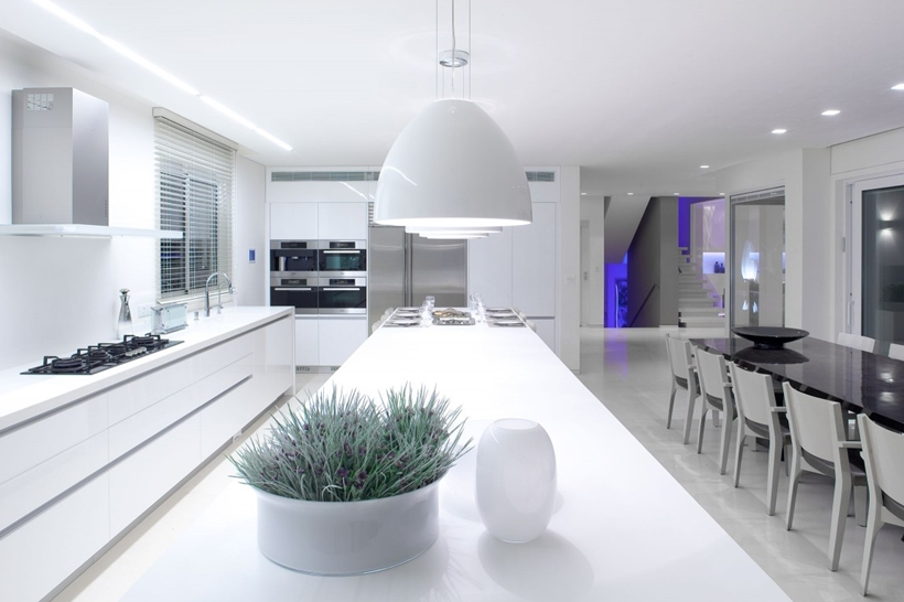 Kitchen island and White interior design in modern Sea Shell home