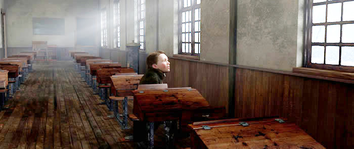 Scrooge waiting at school A Christmas Carol 2009 animatedfilmreviews.blogspot.com