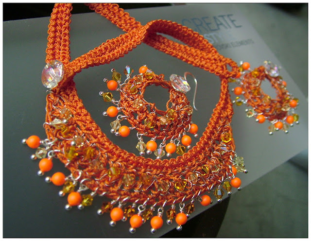 Swarovski Neon - Wire Crochet Necklace & Earrings