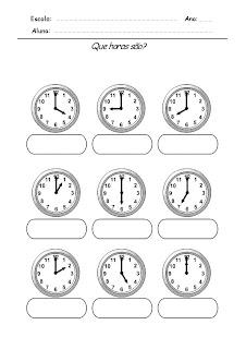 Atividade com horas Relógios para Completar - Que horas são 2