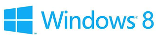 Four blue rectangles arranged as a rectangle. Beside it in blue font the words Windows 8