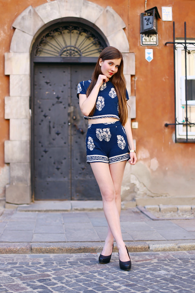 Two piece set in blue outfit