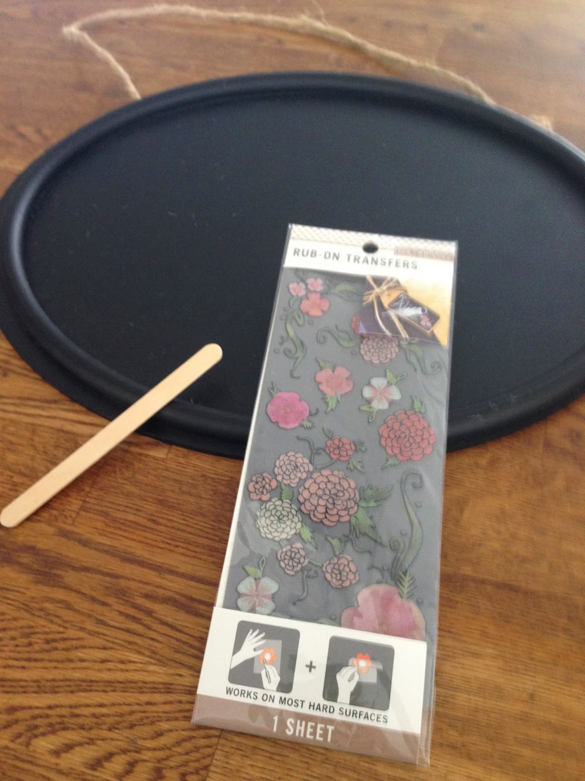 Target Dollar Spot chalkboard oval with rub on floral transfers-www.goldenboysandme.com