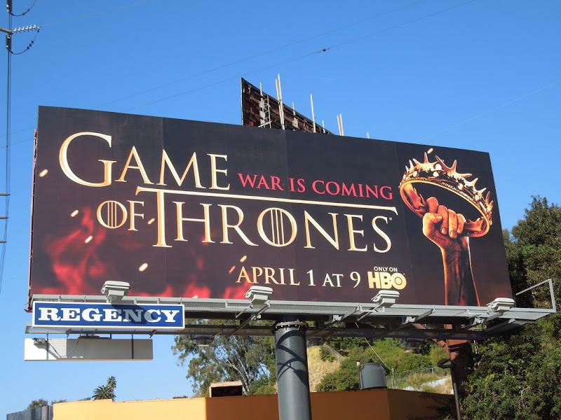 Game of Thrones season 2 crown billboard