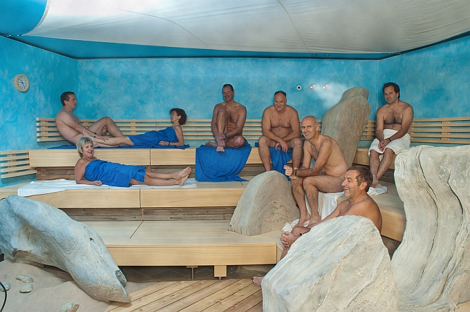 Nude educate in the sauna