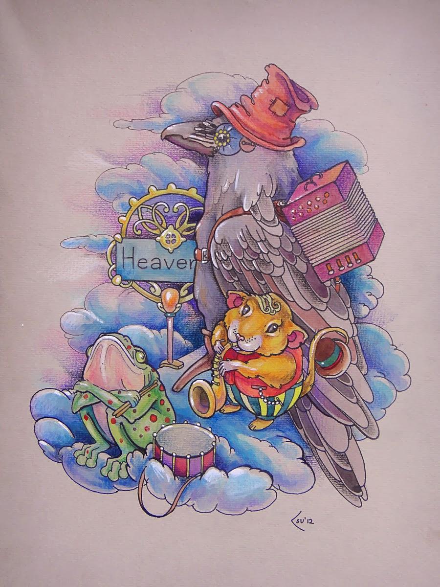 Tattoo Pássaros com um sapo