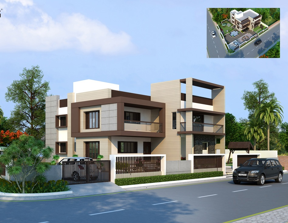 3d front wow beautiful house 3d views v ray for Beautiful house view