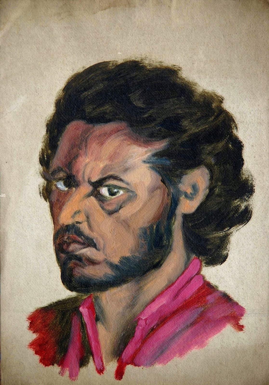 Self portrait of Hungryalist painter Anil Karanjai