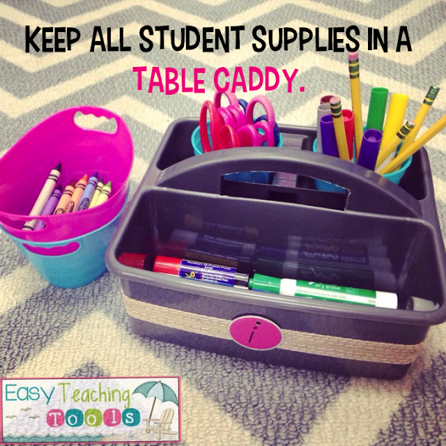 supplies, pencil box, supply caddy, expo markers, students, easy teaching tools