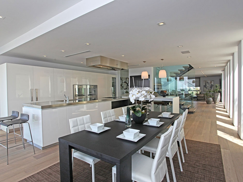 Dining room in Sharp modern home on Sunset Strip