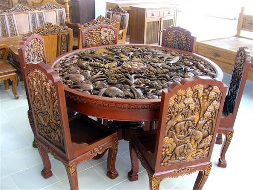 Meja makan kayu jati ukir 6 kursi