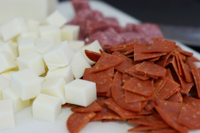 Cheese & Pepperoni for Antipasto Pasta Salad