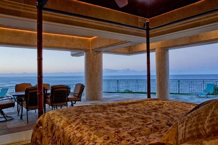 Bedroom in an Impressive Waterfall House in Hawaii