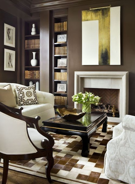 brown and white office or den with modern gold accents