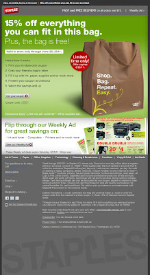 Click to view this June 21, 2011 Staples email full-sized
