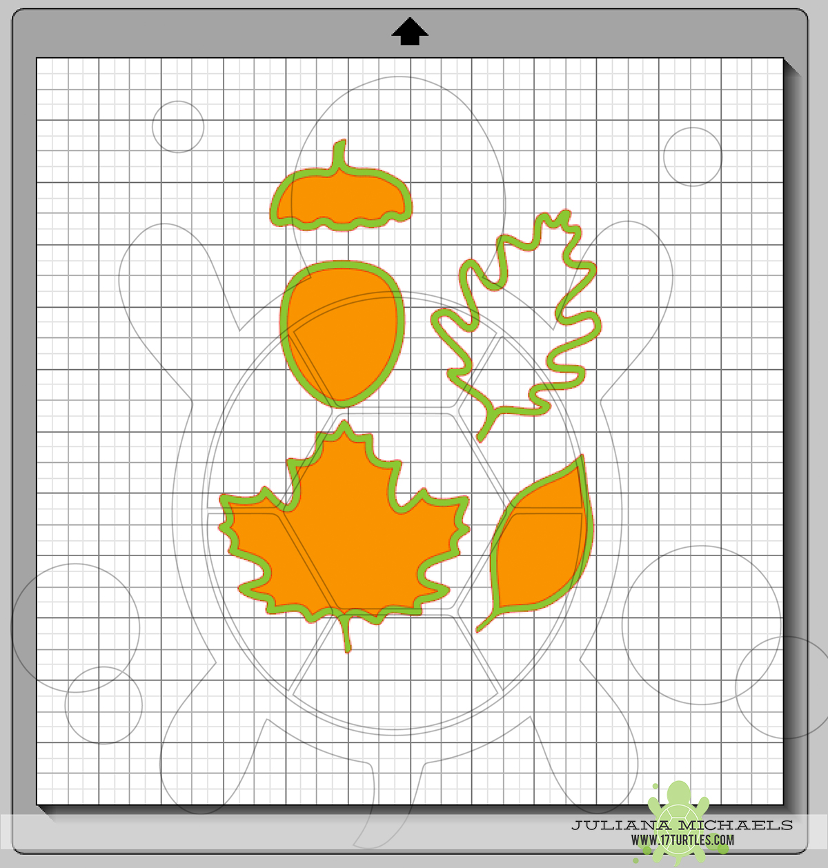 Compound Paths with the layers of a Digital Cut File Leaves & Acorn by Juliana Michaels 17turtles