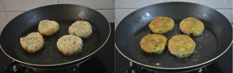 shallow frying the cutlets