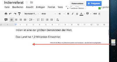 Google Docs - Bilder ins Dokument ziehen und so ganz einfach hochladen