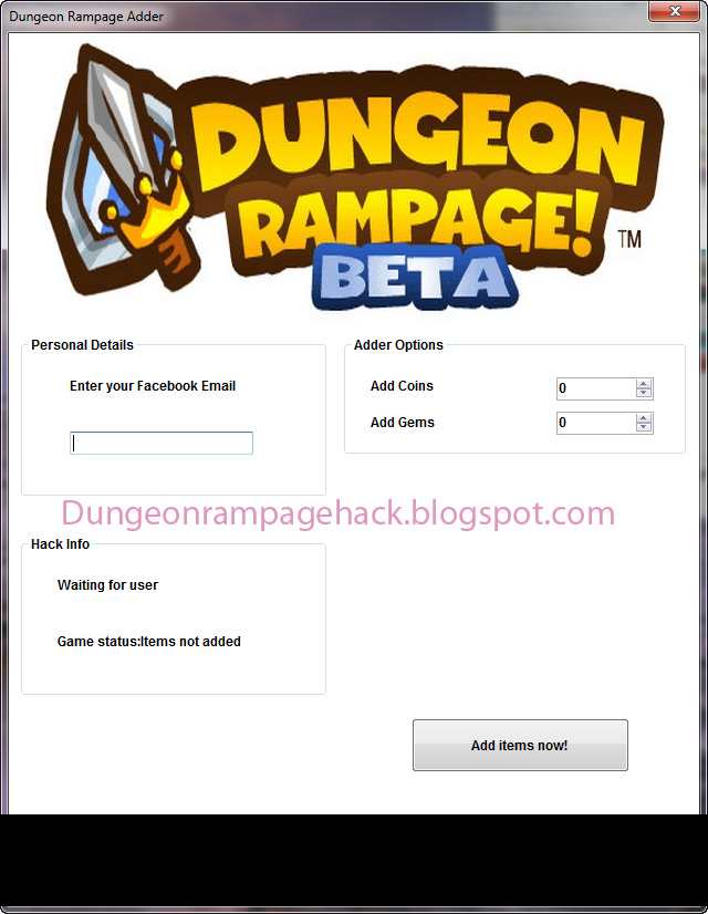 Dungeon Rampage Hacks Tool 2012 - Coins Adn Gems Maker
