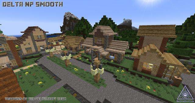 En esta imagen se ve una aldea con las nuevas del paquete DeltaCraft Np Smooth 1.8