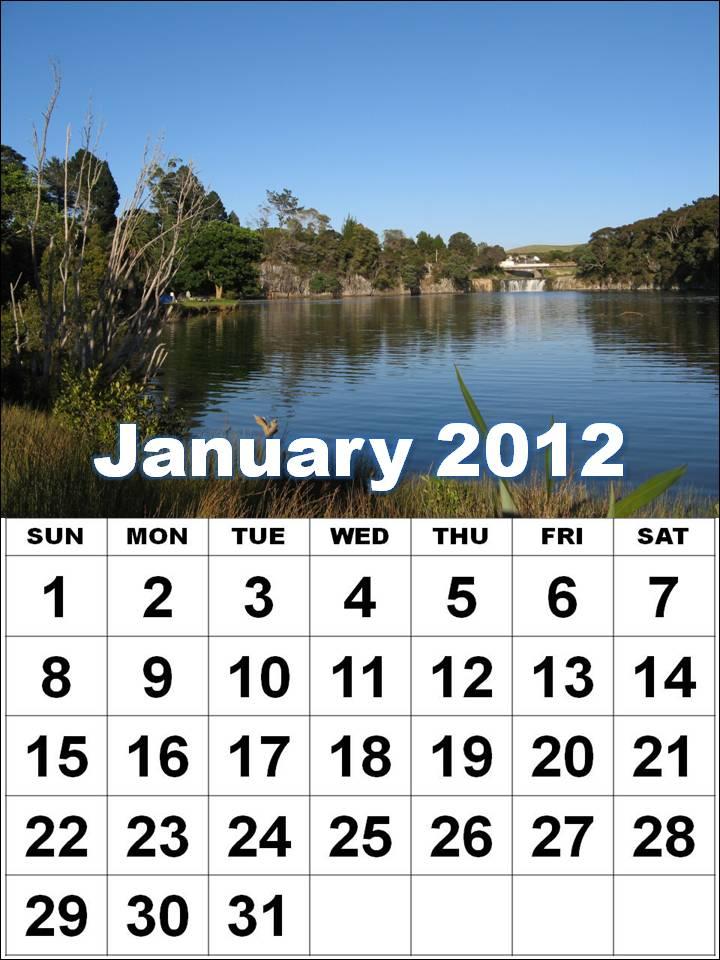 January 2012 Calendar