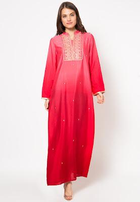 Model Gamis Berbahan Sifon Polos Merah